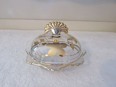 New Martinsville Glass RADIANCE Gold Overlay Round Butter Dish With Cover