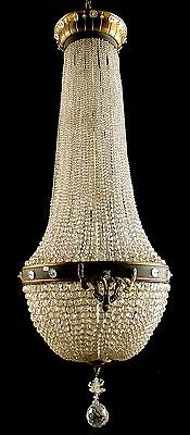 Antique french empire style Solid bronze and crystal chandelier