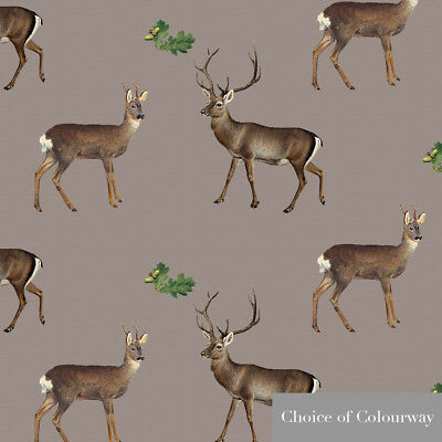Designer Sewing Upholstery Curtain Vintage Stag Deer Fabric Cotton Linen Metre