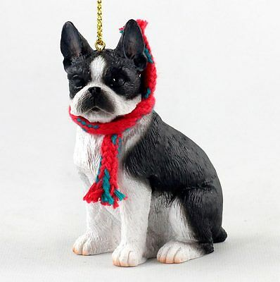 Boston Terrier Christmas Ornament Scarf Figurine