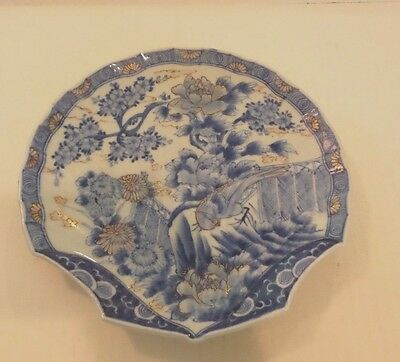 19th C. ANTIQUE JAPANESE ARITA SHELL SHAPED PLATE, KAKIEMON EDO PERIOD, SIGNED