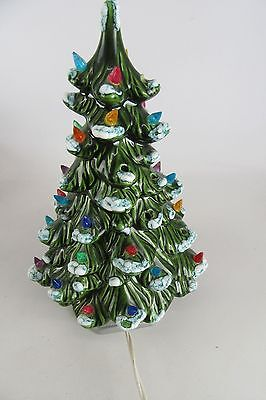Light Up Ceramic Christmas Tree With Plastic Ornaments & Light Base WORKS