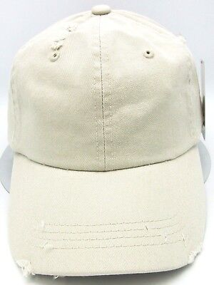 b787e11c657ed Distressed Unconstructed Cap DECKY Dad Hat Curved Visor Adjustable Stone NWT