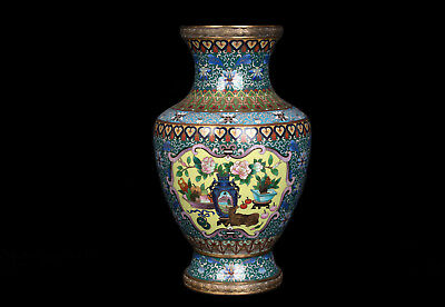 China 20. Jh. Große Emaille -A Large Chinese Cloisonne Vase Vaso Cinese Chinois