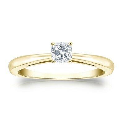 1 Ct Cushion Solitaire Engagement Wedding Promise Ring Real 14K Yellow Gold