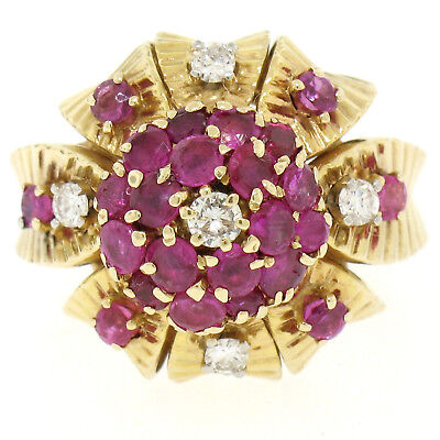 Estate Detailed 14k Yellow Gold 2.17ctw Round Ruby Diamond Cluster Cocktail Ring