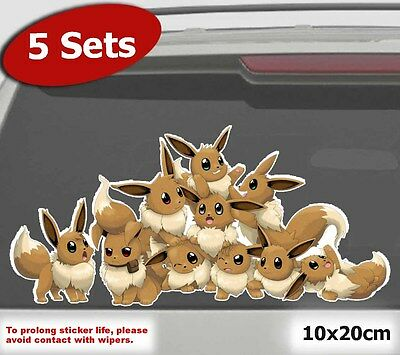 5xPACK Pokemon Go Cute Eevee Group Car Window JDM Laptop Sticker Vinyl Decal