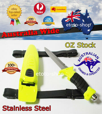 Scuba Diving Snorkeling Spearfishing Dive Knife + Straps & Sheath