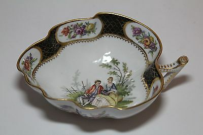 Antique Helena Wolfsohn  Hand Painted Leaf Dish  Dresden , Germany c. 1843-1878