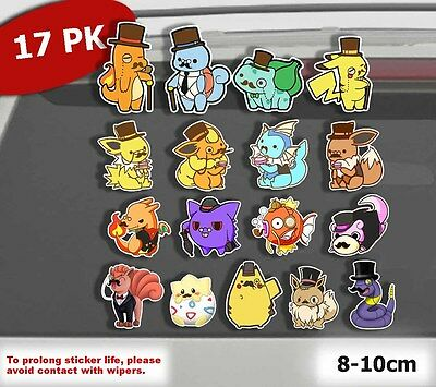 17x PACK Pokemon Go Cute Gentlemon Pikachu Eevee Car Laptop Sticker Vinyl Decal