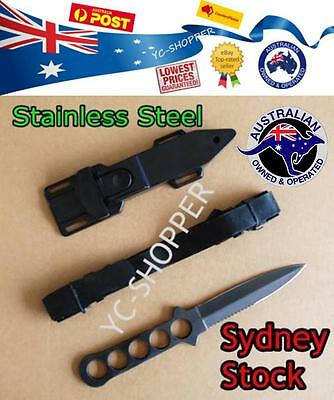 Stainless Steel - Dive Diving Knife + Rubber Leg Straps Fishing