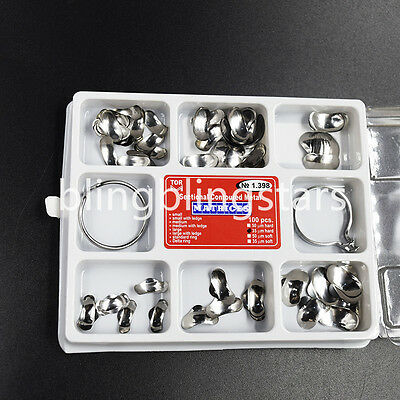 Dental Sectional Contoured Matrices Full Matrix Kit 100pcs 35 μm Hard + 2 Rings