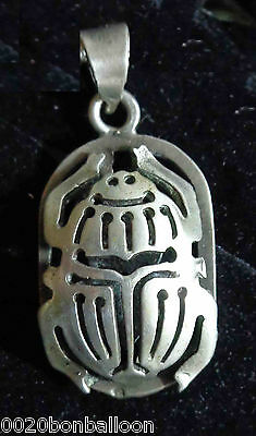 Hall Marked Egyptian Egipto Sterling Silver Pharaoh Pendant Scarab 3.2 gm 1.1""