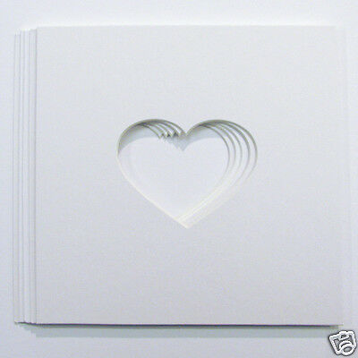 "Pack of 5 Heart Shaped Photo Mounts for Baby Scan Photos to Fit 8""x8"" frames"