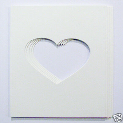 Pack of 5  7x5 Heart Shaped photo mounts to fit 10x12 frames