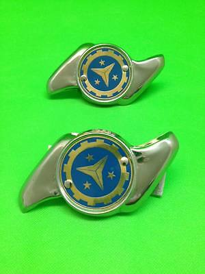 Two (2) Stainless Steel Wheel Spinners - Jag Wheel Type - Blue Vigano Design