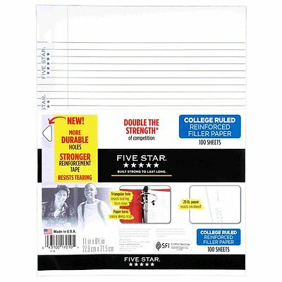 "Five Star Filler Paper, College Ruled, Reinforced, Loose Leaf Paper, 11 x 8.5"","