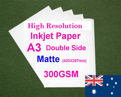 120 sheets A3 300GSM Inkjet Double Side Matte Photo Paper