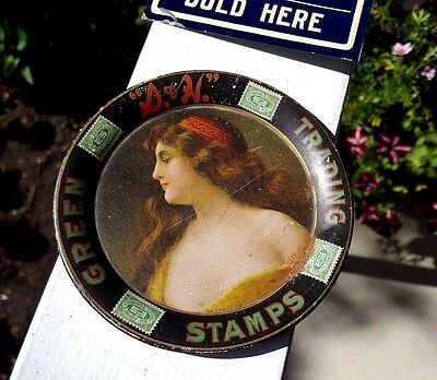Antique S & H Green Trading Stamps Tin Litho Advertising Tip Tray - c1905