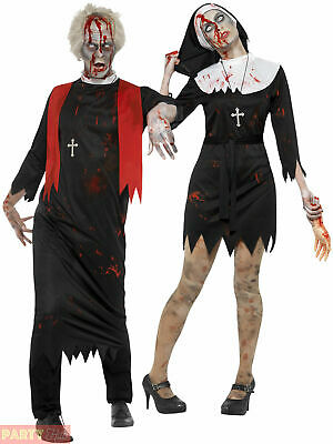 Adult Zombie Nun Priest Couples Costume Mens Ladies Halloween Fancy Dress Outfit