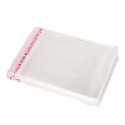 New 100Pcs Clear Cellophane Display Bags Card Self Seal Plastic Cello Bag 14X8CM
