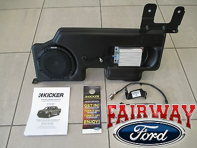 "15 thru 17 F-150 OEM Ford Kicker Audio 8"" Sub Speaker & 100w Amp Upgrade Kit NEW"