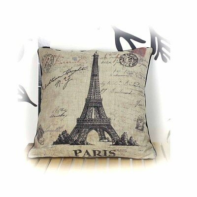 Linen Cotton Blended Eiffel Tower Cushion Cover Pillow Case Home Decor