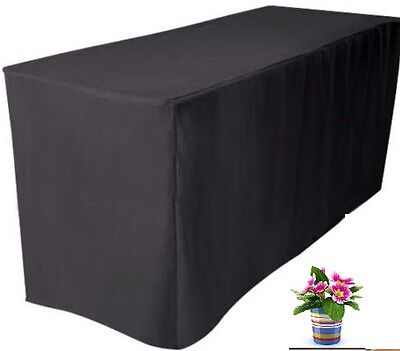 5' ft. Fitted Black Polyester Table Cover Trade show Booth DJ Tablecloth wedding