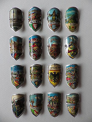 ✔ Ultra Rare_16 Metal COATS OF ARMS_Germany & east of France_Vintage