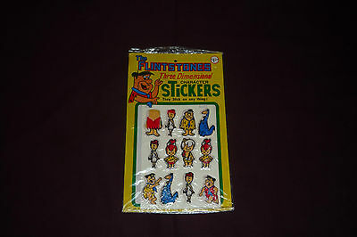 Vintage 1977 Hanna-Barbera Flintstones 3-D Puffy Sticker Set of 12 Sealed MOC