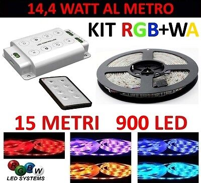 Kit 15 Metri Controller 1 Zona Striscia Rgb+Wa 900 Led 5050 12 Volt Strip Meters