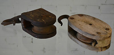 Pair of Wood Pulleys Antique Vintage Architectural Factory Industrial Barn Decor