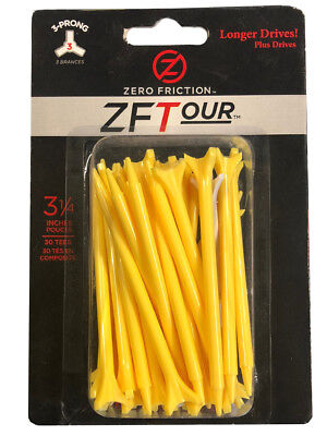 Zero Friction ZF Tour Tees 30 Pack 3.25 Inch Yellow