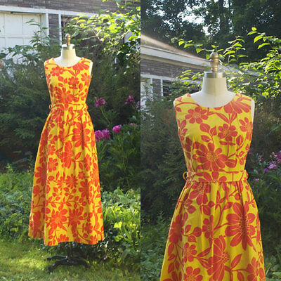 Vintage 1960s Sleeveless Yellow Orange Mod Floral Jumpsuit. Palazzo Pants.