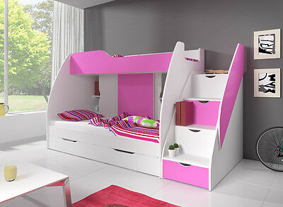 Children Kids Cabin Bunk Bed MARCINEK, Integrated Drawers, Mattresses
