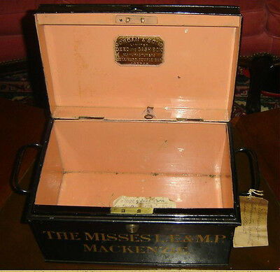 Antique England Travel Deed And Cash Box Safe Jordan & Son C.1929 Custom Made.