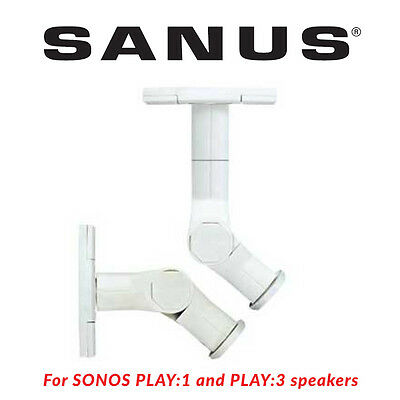 SANUS WMS3 Tilt & Swivel Wall Mount SONOS Play:1 & Play:3 Speakers White Pair