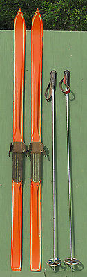 Antique HARVEY E. DODDS WOODEN SKIS & POLES RARE!