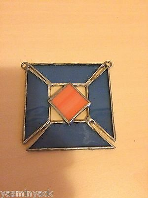 Stained Glass Hanging Sun Catcher Home - Window Decoration - Blue/orange - New