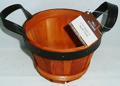 """FALL/AUTUMN BASKET 6 1/2"""" Dia x 5"""" T  With Handles  Autumn Colors"""