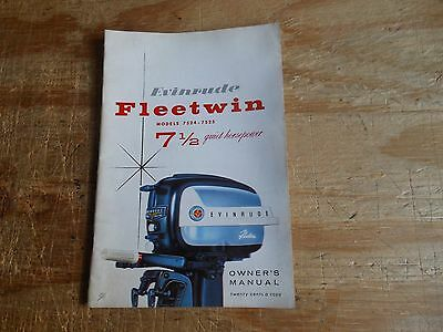 1958 Evinrude 7-1/2HP Fleetwin Outboard Owner Manual 7524-7525 # 204179