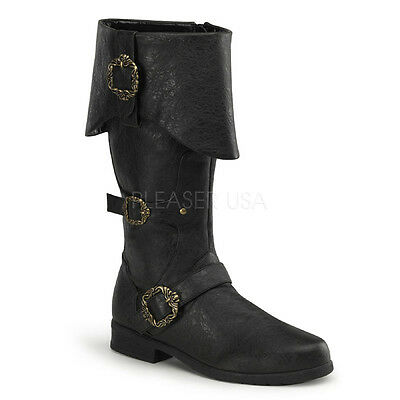Carribean-299 Men Costume Pirate Riding Renaissance Folded Upper Mid Calf Boot