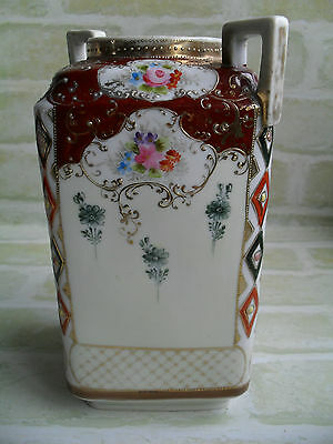 STUNNING ANTIQUE EARLY 1900s HAND PAINTED NIPPON PORCELAIN VASE