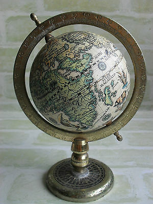 Steel Base Old - Vintage Style - Desktop Mini Rotating Earth / Globe