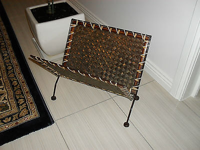 CUTE VINTAGE MID 70's WOVEN CANE / BAMBOO FOLDABLE MAGAZINE RACK