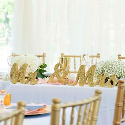 Glitter Mr & Mrs Wedding Decoration Standing Wooden Letters Sign Top Table