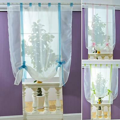 Beauty 1PC Window Curtain Voile Roman Blinds Sheer Kitchen Bathroom Balcony New
