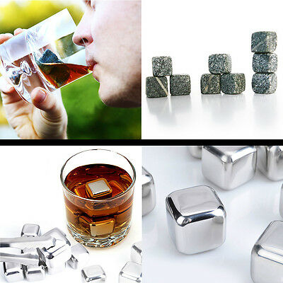 Stainless Steel Whiskey Stones Rock Ice Cubes Soapstone Chillers Freezer 2 Type