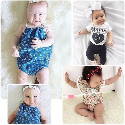 New Newborn Baby Girl Bodysuit Lace Floral Romper Jumpsuit Summer Outfits 0-24M