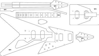 Electric Guitar Layout Template - '67 V. Delivery is Free